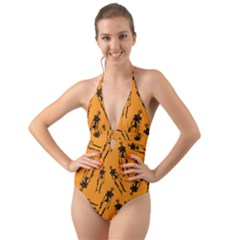 Halloween Skeletons  Halter Cut Out One Piece Swimsuit