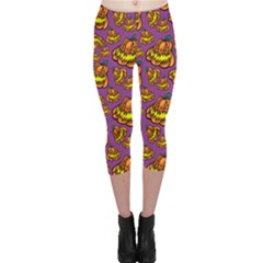 Halloween Colorful Jackolanterns  Capri Leggings  by iCreate