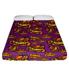 Halloween Colorful Jackolanterns  Fitted Sheet (king Size) by iCreate