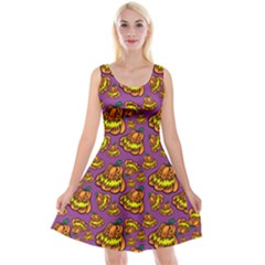 Halloween Colorful Jackolanterns  Reversible Velvet Sleeveless Dress by iCreate