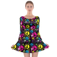 Peace Drips Icreate Long Sleeve Skater Dress by iCreate