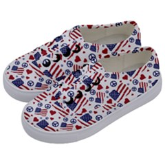 Peace Love America Icreate Kids  Classic Low Top Sneakers by iCreate