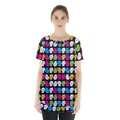 Pattern Painted Skulls Icreate Skirt Hem Sports Top