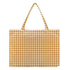Friendly Houndstooth Pattern, Orange Medium Tote Bag by MoreColorsinLife