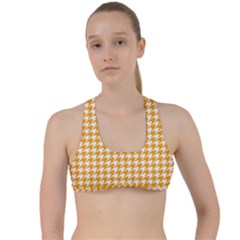 Friendly Houndstooth Pattern, Orange Criss Cross Racerback Sports Bra by MoreColorsinLife