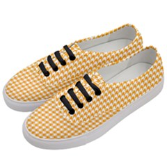Friendly Houndstooth Pattern, Orange Women s Classic Low Top Sneakers by MoreColorsinLife