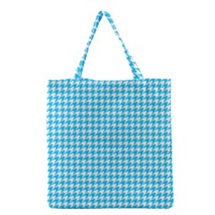 Friendly Houndstooth Pattern,aqua Grocery Tote Bag by MoreColorsinLife
