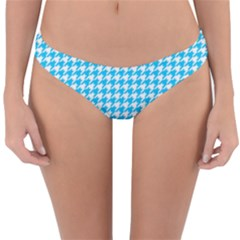 Friendly Houndstooth Pattern,aqua Reversible Hipster Bikini Bottoms by MoreColorsinLife