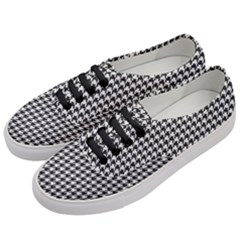 Friendly Houndstooth Pattern,black And White Women s Classic Low Top Sneakers by MoreColorsinLife