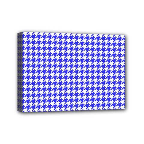 Friendly Houndstooth Pattern,blue Mini Canvas 7  X 5  by MoreColorsinLife