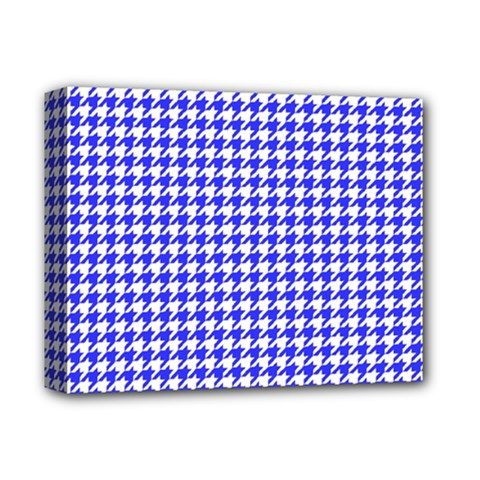 Friendly Houndstooth Pattern,blue Deluxe Canvas 14  X 11  by MoreColorsinLife