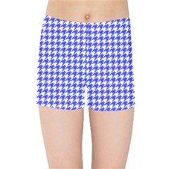 Friendly Houndstooth Pattern,blue Kids Sports Shorts