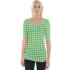 Friendly Houndstooth Pattern,green Wide Neckline Tee