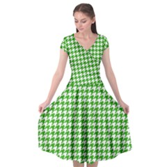 Friendly Houndstooth Pattern,green Cap Sleeve Wrap Front Dress by MoreColorsinLife