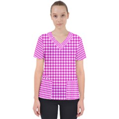 Friendly Houndstooth Pattern,pink Scrub Top