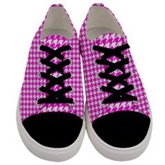 Friendly Houndstooth Pattern,pink Men s Low Top Canvas Sneakers
