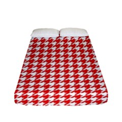 Friendly Houndstooth Pattern,red Fitted Sheet (full/ Double Size) by MoreColorsinLife