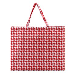 Friendly Houndstooth Pattern,red Zipper Large Tote Bag by MoreColorsinLife