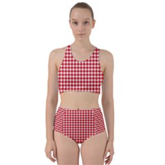 Friendly Houndstooth Pattern,red Racer Back Bikini Set by MoreColorsinLife