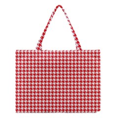 Friendly Houndstooth Pattern,red Medium Tote Bag by MoreColorsinLife