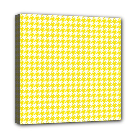 Friendly Houndstooth Pattern,yellow Mini Canvas 8  X 8  by MoreColorsinLife