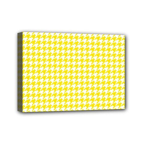 Friendly Houndstooth Pattern,yellow Mini Canvas 7  X 5  by MoreColorsinLife