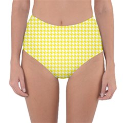 Friendly Houndstooth Pattern,yellow Reversible High Waist Bikini Bottoms by MoreColorsinLife