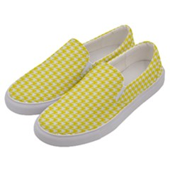 Friendly Houndstooth Pattern,yellow Men s Canvas Slip Ons by MoreColorsinLife