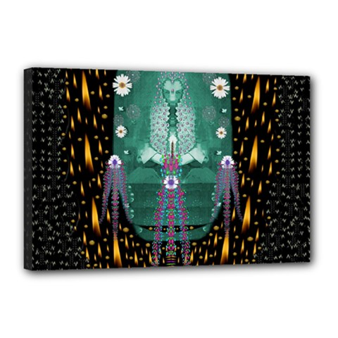Temple Of Yoga In Light Peace And Human Namaste Style Canvas 18  X 12  by pepitasart