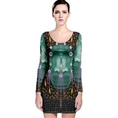Temple Of Yoga In Light Peace And Human Namaste Style Long Sleeve Velvet Bodycon Dress by pepitasart