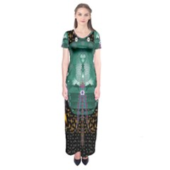 Temple Of Yoga In Light Peace And Human Namaste Style Short Sleeve Maxi Dress by pepitasart