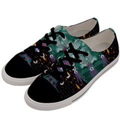 Temple Of Yoga In Light Peace And Human Namaste Style Men s Low Top Canvas Sneakers by pepitasart