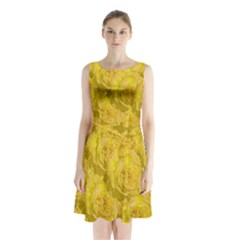 Summer Yellow Roses Dancing In The Season Sleeveless Waist Tie Chiffon Dress by pepitasart