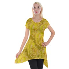 Summer Yellow Roses Dancing In The Season Short Sleeve Side Drop Tunic