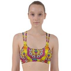 Fantasy Flower In Tones Line Them Up Sports Bra by pepitasart