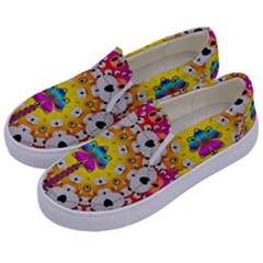 Fantasy Flower In Tones Kids  Canvas Slip Ons by pepitasart