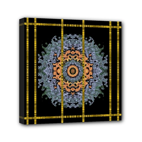 Blue Bloom Golden And Metal Mini Canvas 6  X 6  by pepitasart