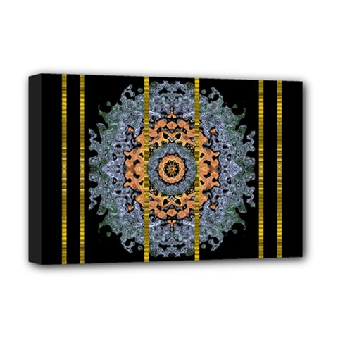 Blue Bloom Golden And Metal Deluxe Canvas 18  X 12   by pepitasart