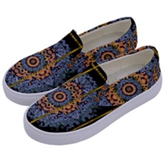 Blue Bloom Golden And Metal Kids  Canvas Slip Ons by pepitasart