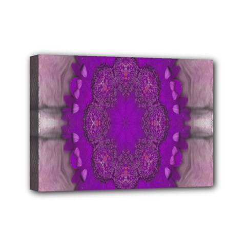 Fantasy Flowers In Harmony  In Lilac Mini Canvas 7  X 5  by pepitasart