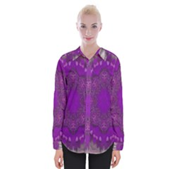 Fantasy-flowers In Harmony  In Lilac Womens Long Sleeve Shirt
