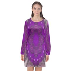 Fantasy Flowers In Harmony  In Lilac Long Sleeve Chiffon Shift Dress