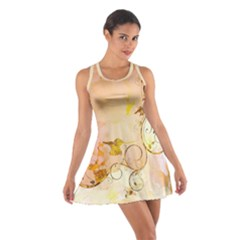 Wonderful Floral Design In Soft Colors Cotton Racerback Dress