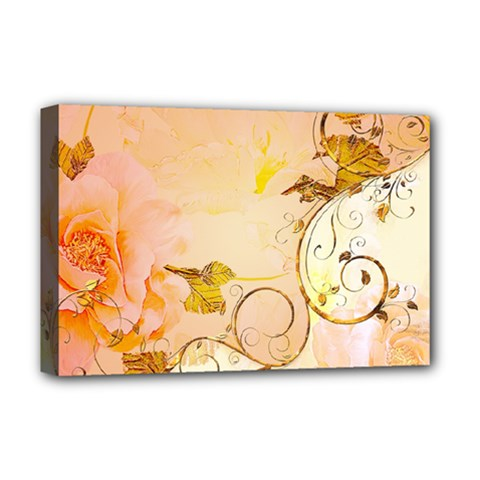 Wonderful Floral Design In Soft Colors Deluxe Canvas 18  X 12   by FantasyWorld7