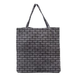 Brick1 Black Marble & Gray Leather (r) Grocery Tote Bag