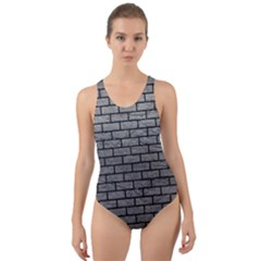 Brick1 Black Marble & Gray Leather (r) Cut Out Back One Piece Swimsuit by trendistuff
