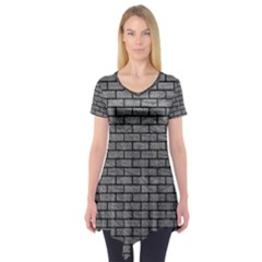 Brick1 Black Marble & Gray Leather (r) Short Sleeve Tunic  by trendistuff