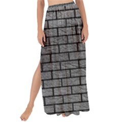Brick1 Black Marble & Gray Leather (r) Maxi Chiffon Tie Up Sarong