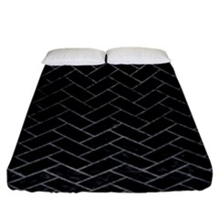 Brick2 Black Marble & Gray Leather Fitted Sheet (king Size) by trendistuff