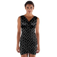 Brick2 Black Marble & Gray Leather Wrap Front Bodycon Dress by trendistuff